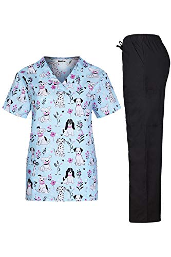 MedPro Women's Printed Medical Scrub Set V-Neck Top and Pants Blue L