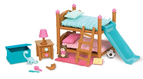 Li'l Woodzeez Bunk Beds Playset – Miniature Bedroom Furniture and Accessories – 18pc Toy Set with Bed, Toys, Book, and More – Gifts for Kids Age 3+