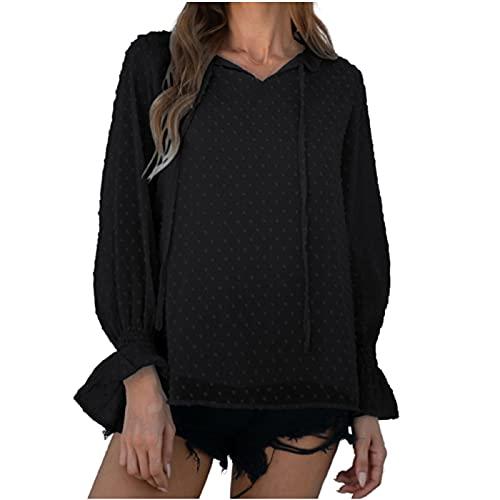 WANGTIANXUE Camiseta de manga larga para mujer, para verano, otoño, de manga larga, blusa de gasa con dulce cordón, elegante, monocolor, túnica, blusa básica, Negro , XL