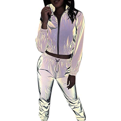 Women Rave Reflective Tracksuit Zip Up Long Sleeves Jacket Jogger Pants with Pockets for Sport Party