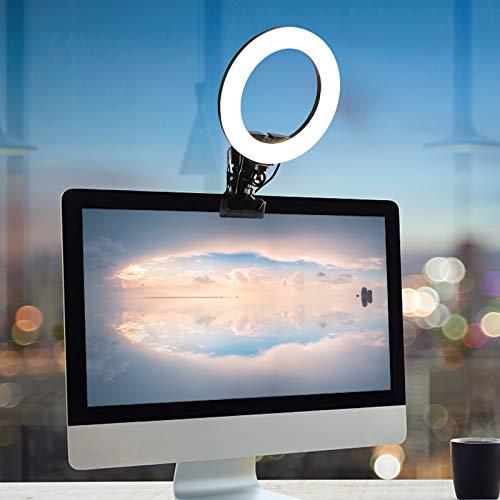 HAOXIU Anillo de luz LED de 8 pulgadas para videoconferencia, juego de iluminación con clip para teléfonos móviles para stream/YouTube/TikTok/Makeup/Selfie