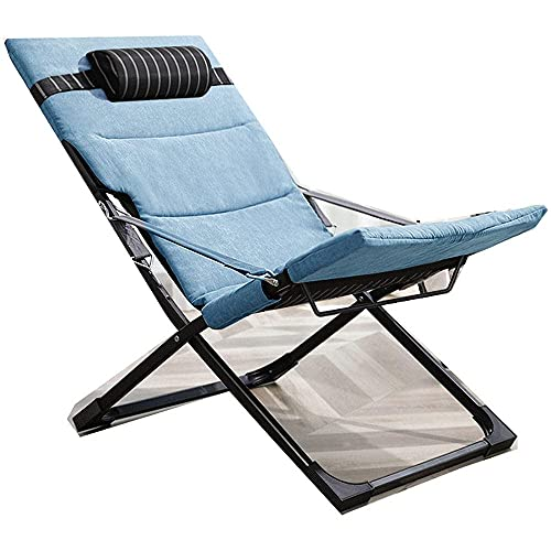 WGFGXQ Sun Chair Lounger,Lunch Break Chair, Home Folding Chair, Outdoor Leisure Back to Back Chair, Office Nap Bed-Black Stripe + Blue Cotton Pad