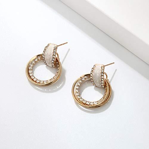 GHJDSFOG Pendientes Pendientes Colgantes Redondos Dobles de Estilo Simple Pendientes de Diamantes de imitación para Mujer Joyas Minimalistas Boho Pendientes Circulares de Metal de Moda Diseño de Moda
