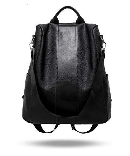 Women Backpack Purse Leather Anti-Theft Backpack Casual Satchel Shoulder Bag for Girls… (Black)