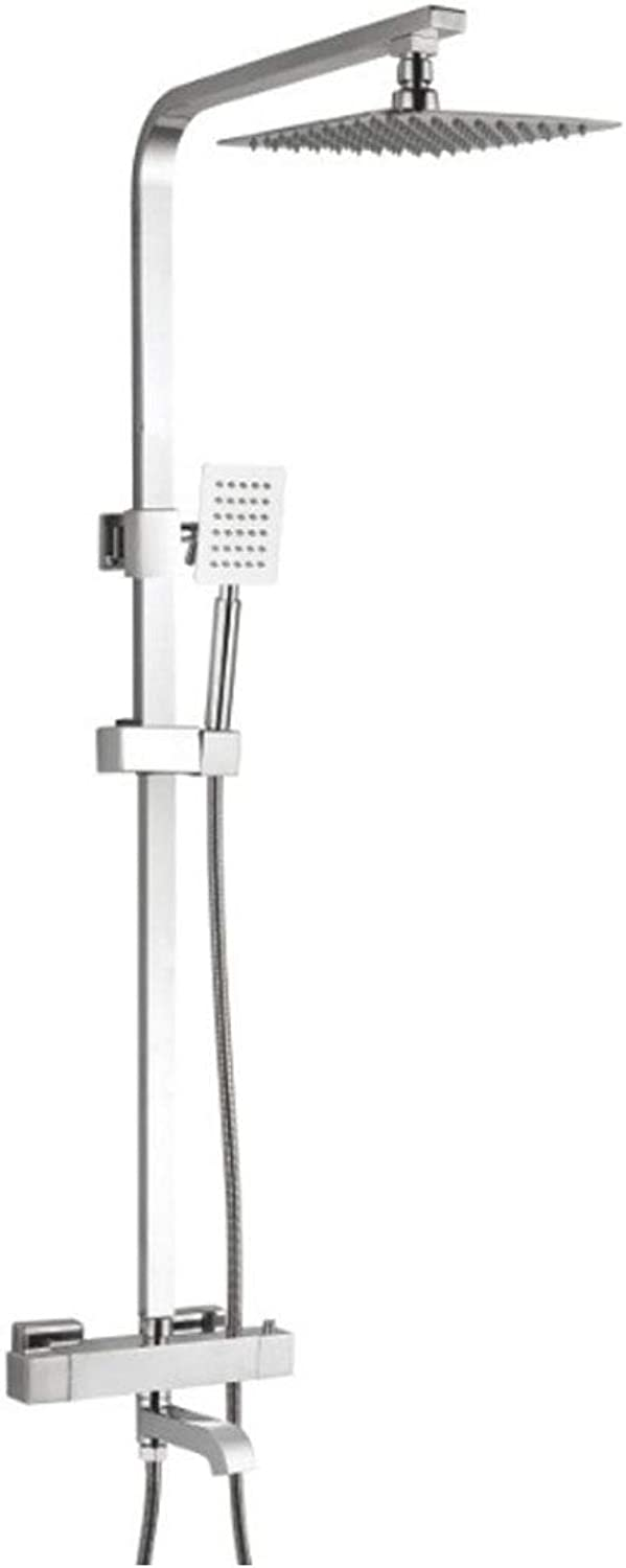 YHNUJMIK Shower System All Copper Faucet Thermostatic Shower Set Square Plating Concealed redate Take A Shower Intelligent Temperature Control Faucet