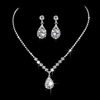 Unicra Bride Silver Necklace Earrings Set Crystal Bridal Wedding Jewelry Sets Rhinestone Choker Necklace Jewelry for Women and Girls
