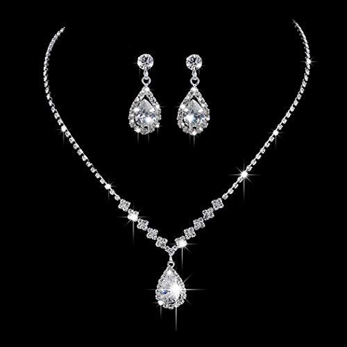 Ushiny Conjuntos de joyas de boda de plata de cristal nupcial collares...