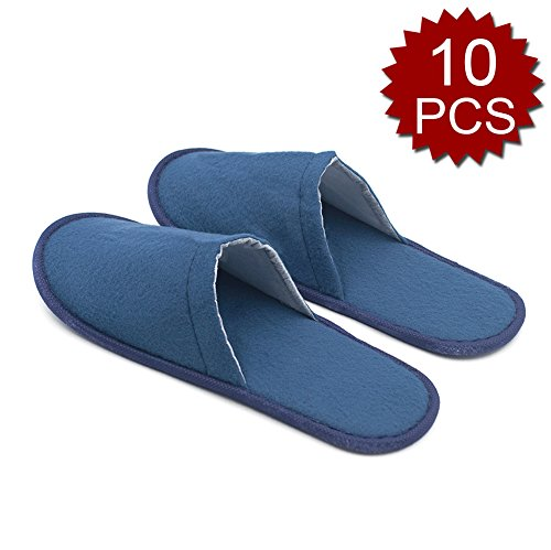 Opromo Unisex Cotton Cloth Hotel Spa Slippers Slip On Indoor House Guest Shoes-10PCS-Blue