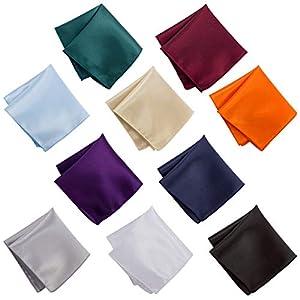 ANPHSIN ポケットチーフ-10枚セット 10色 メンズ 無地 サテン生地 オーバーロックデザイン 光沢あり おしゃれ 軽く 柔らかい肌触り 洗える ビジネス フォーマル 結婚式 慶事 高級 ハンカチ チーフ カジュアル