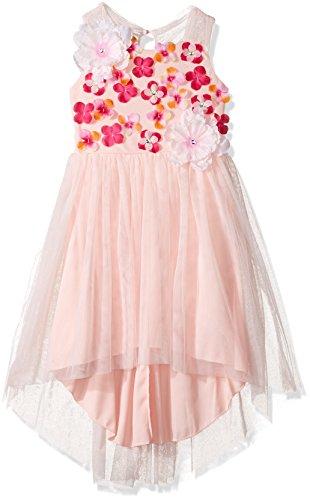 Emerald Sundae Girls' Big 3D Floral High-Low Dress, Blush, 14