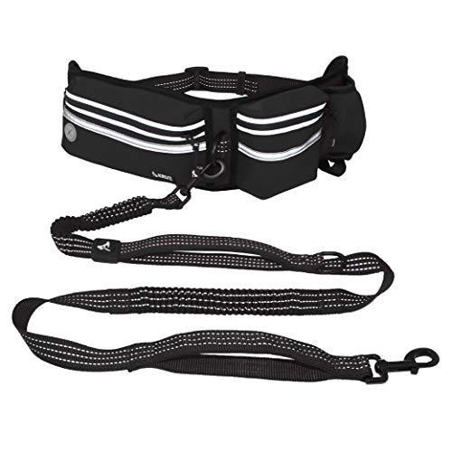 KRUZ PET KZJBELT-01 Hands Free Dog Leash for Running Walking Jogging, Training, Hiking, Retractable Bungee Dog Waist Leash for Medium-Large Dogs - Black