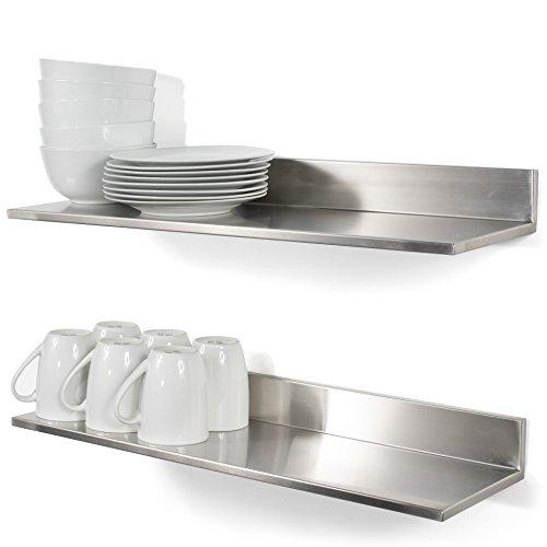 Wallniture Plat Stainless Steel Wall Shelf Heavy Duty Restaurant Bar Cafe Home Kitchen Organization and Storage Shelf Set of 2 2360 Silver