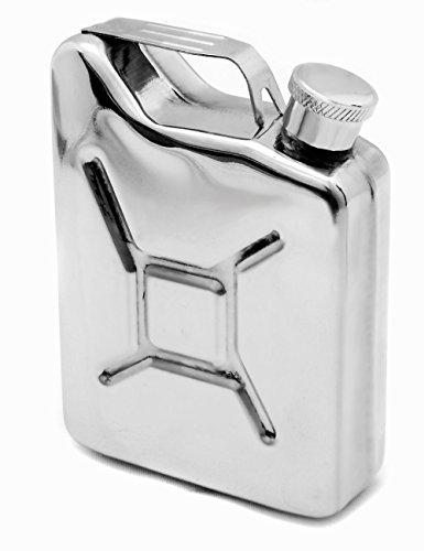 Outdoor Saxx® - Toller Edelstahl Flachmann Sprit Benzin-Kanister Optik, Taschen-Flasche Trink-Flasche für zB. Whiskey Schnaps 15cl 150ml 5oz mit Schraub-Verschluss, Tolle Geschenk-Idee