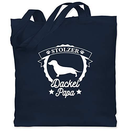 Hunde - Stolzer Dackel Papa - Unisize - Navy Blau - dackel papa - WM101 - Stoffbeutel aus Baumwolle Jutebeutel lange Henkel