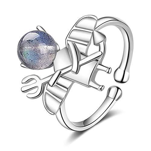 IWINO Ring vrouwelijke Koreaanse versie van kleine frisse eenvoudige blauwe licht maansteen kleine demon open handversieringen