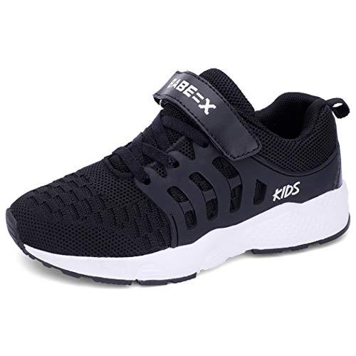 Unpowlink Kinder Schuhe Sportschuhe Ultraleicht Atmungsaktiv Turnschuhe Klettverschluss Low-Top Sneakers Laufen Schuhe Laufschuhe für Mädchen Jungen 28-37, 920-schwarz, 36 EU