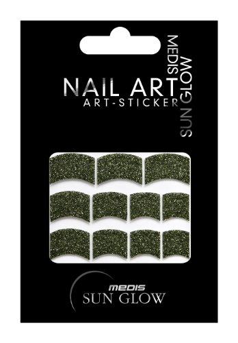 Medis Sun Glow Stickers pour nail art Style french manucure Vert métallisé à paillettes