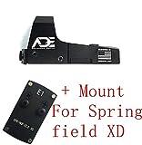 Ade Advanced Optics Mini RD3-006x Green Dot Reflex Sight for Springfield XD Pistol Mounting Plate That Replace Rear Sight