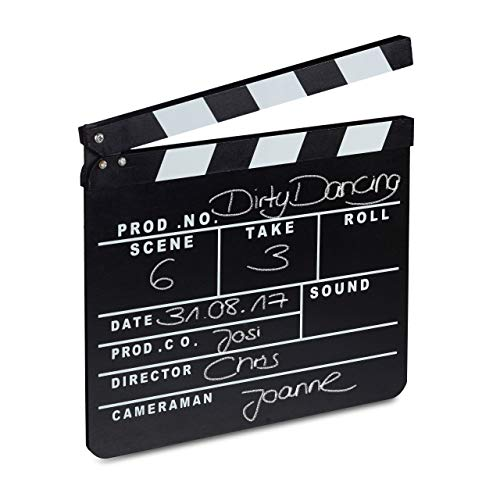 Relaxdays 10021346 Ciak Cinema in Legno, Clapperboard da Regista, Accessori Set Cinematografico, Lavagna HxL: 26 x 30 cm, Nero