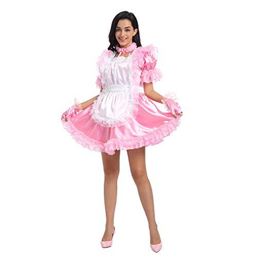 JOLINE Sissy Frauen Rückenfreies Rosa Kleid Mit Bombastischer Schleife Für Crossdressing (M)