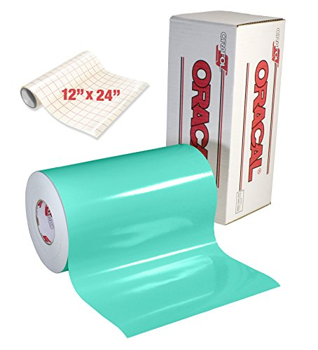 ORACAL Gloss Mint Adhesive Craft Vinyl for Cameo, Cricut & Silhouette Including Free Roll of Clear Transfer Paper (6 Foot x 12 Inch)
