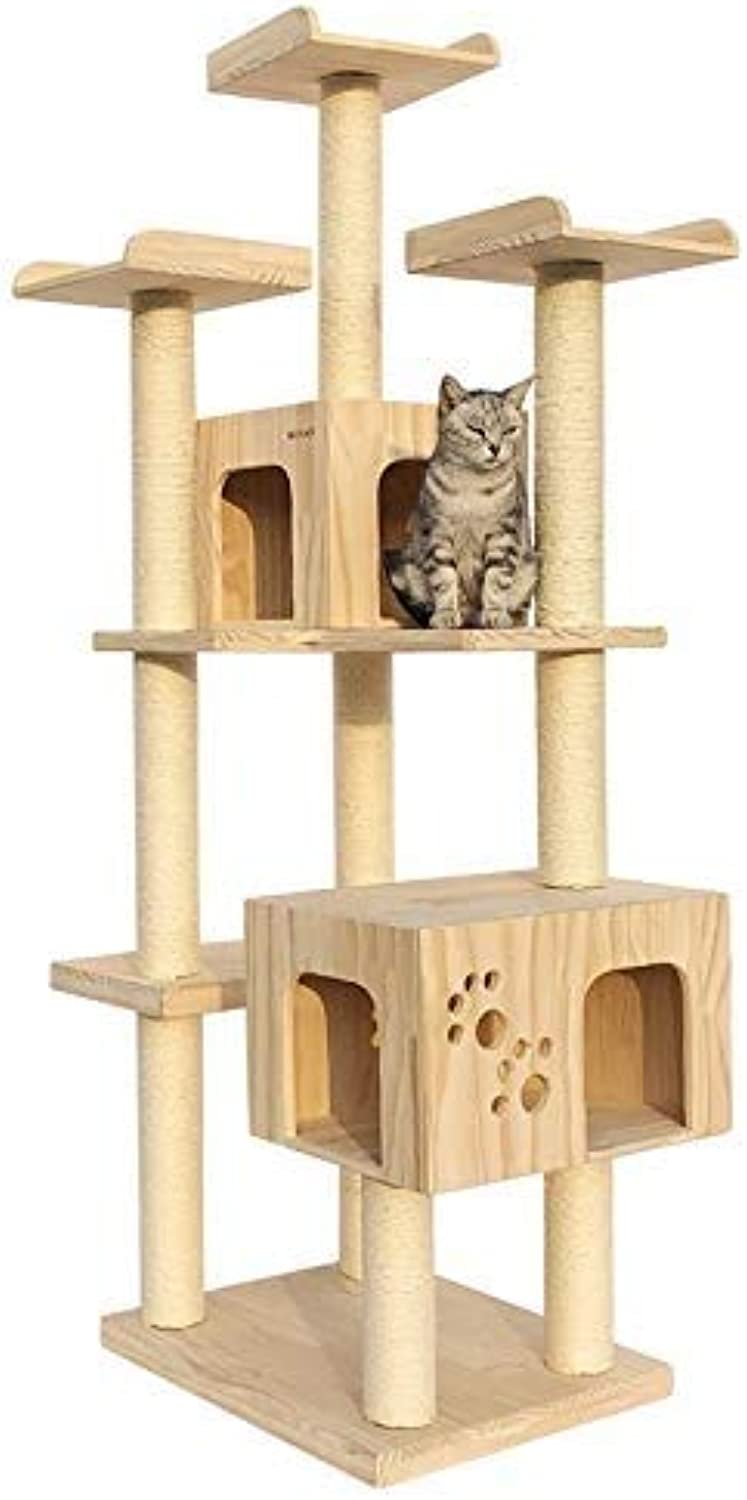 Ldlms Pet supplies Multilayer large solid wood cat climbing frame wooden cat toy cat jumping cat tree cat furniture