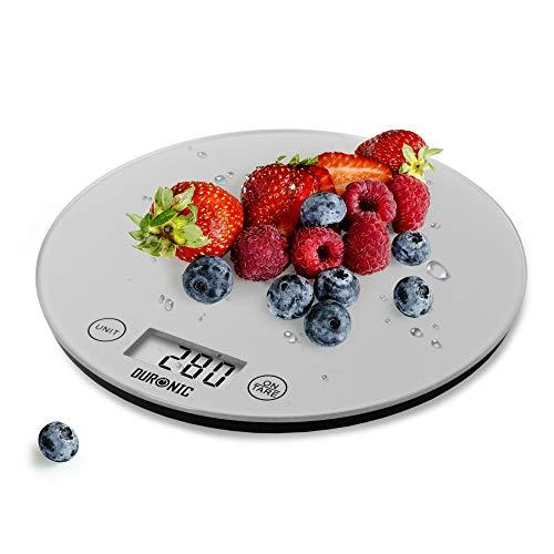 Duronic KS1055 Báscula de cocina digital 18cm de diametro – Pantalla LDC con lectura de dígitos fácil – Peso máximo 5kg – Función tara – Mide en gramos, libras, onzas fluidas y mililítros – Color gris