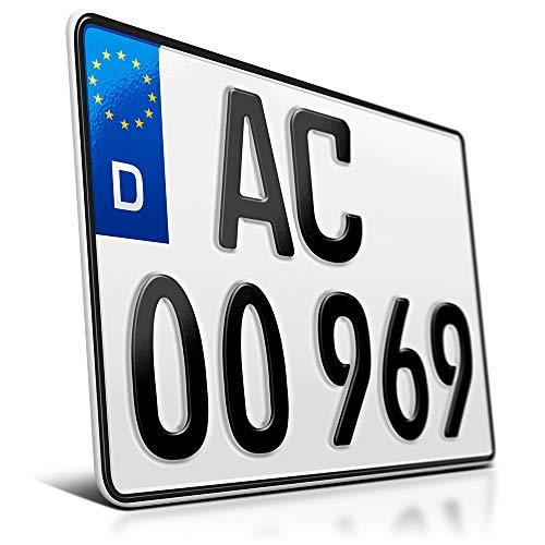 schildEVO 1 Kfz Kennzeichen | 280 x 200 mm | Motorrad & Roller | Saison | Quad | SUV | Anhänger | Motorrad-Kennzeichen