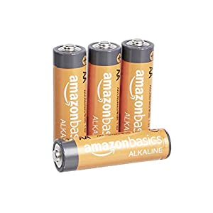 AmazonBasics 4-Count AA High-Performance Alkaline Batteries, 10-Year Shelf Life, Easy to Open Value Pack