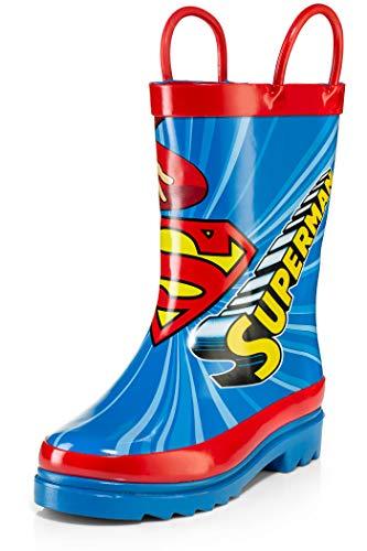 DC Comics Superman Boy's Rain Boots - Size 2 Little Kid Blue and Red