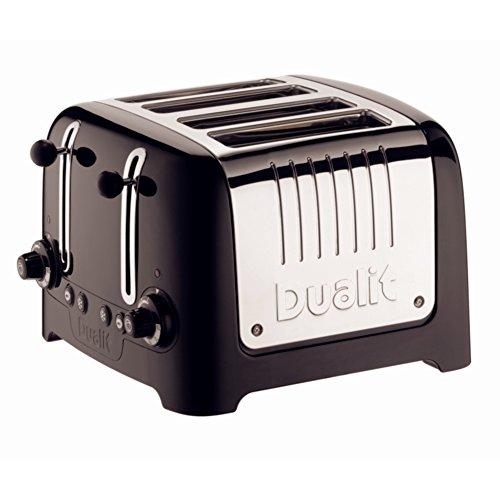 Dualit GF336 Lite Toaster, 4 Slice, 120 Slices/hr, 2kW, 200 mm H x 280 mm W x 310 mm D, Black