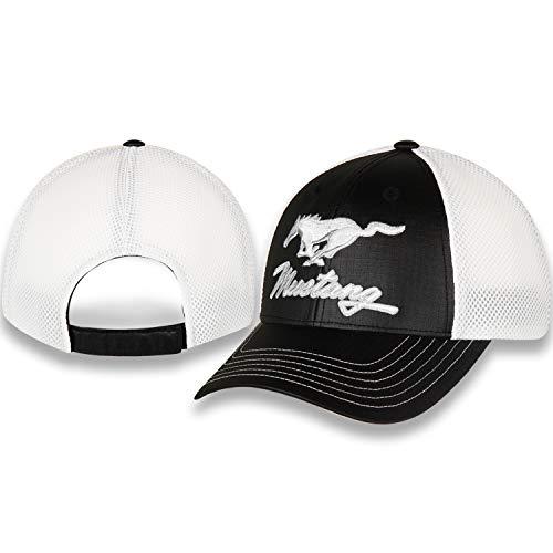 Ford Mustang schwarz Rip Stop und weiß Air Mesh Hut Cap mit verstellbarem Verschluss, Pony bestickte Front Panel