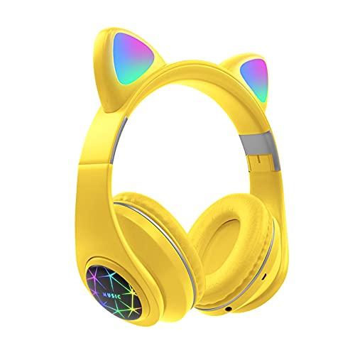 FDKJOK Bluetooth inalámbrico 5.0 FM Gaming Headset Control de volumen LED Light Up Cat Ear Auriculares (amarillo)