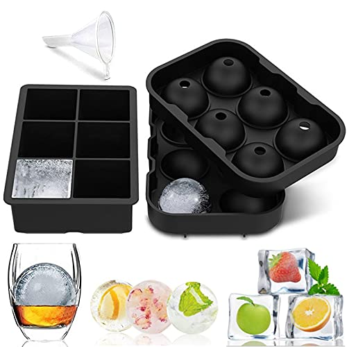 Ice Cube Trays Silicone Set of 2, Ice Ball Maker Mold, Whiskey Ice Ball Mold, Round Ice Cube Mold, Sphere Ice Cube Mold - Square Large Ice Cube Trays for Cocktails & Bourbon - Easy Release BPA Free