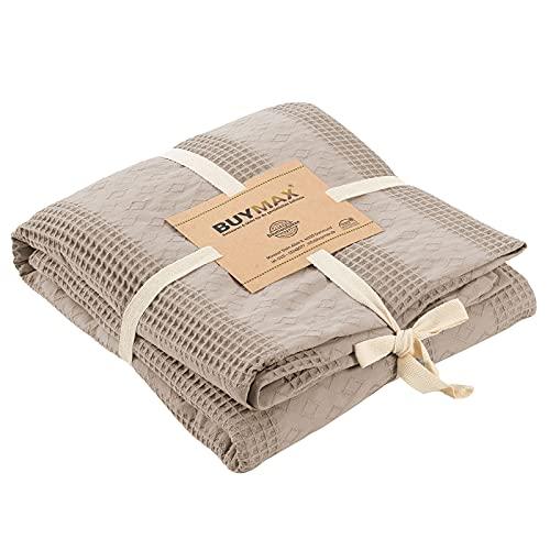 Pique Tagesdecke 220x240 cm Waffeloptik 100prozent Baumwolle Überwurf Sofadecke Baumwolldecke Wohndecke Quilt Pikee Uni Einfarbig, Farbe Beige