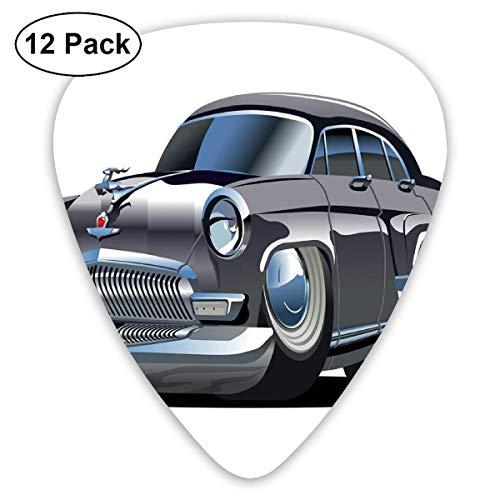Gitarren-Picks Retro-inspiriertes Autodesign mit asymmetrischen Reifen Schnelles Auto-Tempo Cooles Logo, für Bass Electric Acoustic Guitars-12 Pack