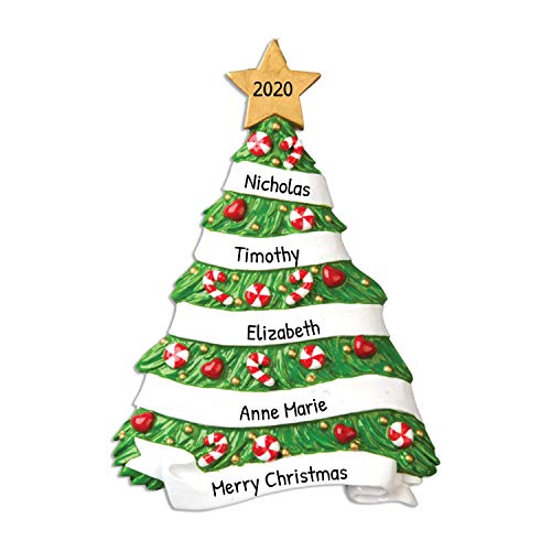 Personalized Family Grandma's Tree Christmas Ornament 2018 - Green Pine Candy cane Baubles Gold Star - Friends Coworkers Generic Memory Grand-kids Children Tradition - Free Customization by Elves