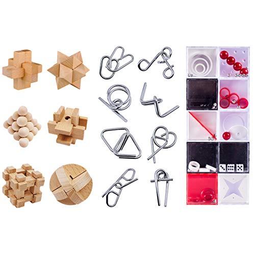 VenGo 24Pack Rompecabezas Metal Puzzles Madera Puzzles