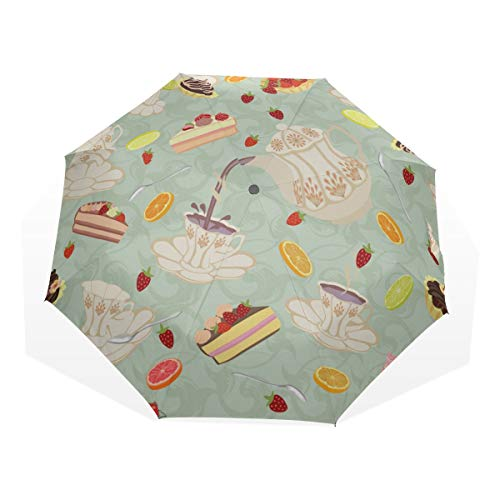 Rain Umbrella Kids Elegant Retro Art Tea Set Teapot Cup 3 Fold Art Umbrellas(outside Printing) Compact Umbrella Travel Outdoor Sun Umbrella Best Sun Umbrella