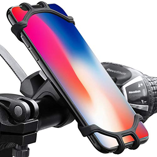 """MQOUNY Bike Phone Mount, 360°Rotatable Adjustable Universal Silicone Motorcycle Phone Mount Bicycle GPS Units Holder,Bicycle Handlebars 4.0""""- 6.5"""" Fits for iPhone 11/11 Pro Max/XR/8/7/ 6 Plus (Black)"""