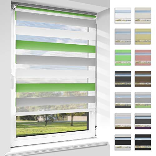 OUBO Doppelrollo Klemmfix ohne Bohren Duo Rollos für Fenster & Türen (Grün-grau-weiß, 50cm x 150cm), Klemmrollo Seitenzugrollo Sicht und Sonnenschutz, Lichtdurchlässig und Verdunkelnd.