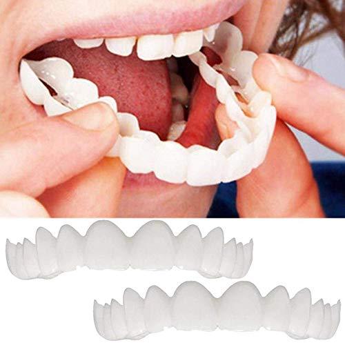 HCHQ Cosméticos Dentaduras Hombres Mujeres Ajuste Cómodo a Presión Dentaduras Postizas Reales Reutilizable,2 Pairs