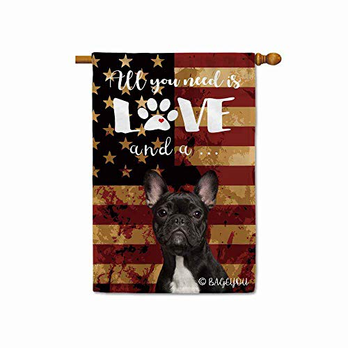 BAGEYOU All You Need is Love and a Dog Frenchie Decorative House Flag for Outside Cute Puppy Paws with America Flag Patriotic Banner 28x40 Inch Printed Double Sided