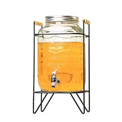 BERTY·PUYI Dispensador De Bebidas Grande De 5L con Grifo Jarra De Agua De Vidrio para El Hogar Dispensadores De 8L-Transparent+Black||8L