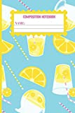 Composition Notebook: Turquoise Blue Lemon gifts for women,men,kids,and teens: cute & elegant  college ruled lined paper to write in