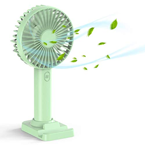 Handheld fan, mini handheld fan with base, USB rechargeable battery powered desktop fan, electric portable personal cooling fan, suitable for office bedroom and outdoor travel
