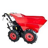 BRAST Volquete de gasolina mini-dumper motorizado carretilla, carga de ruedas, 4,8 kW/6,5 CV, tracción a las cuatro ruedas, carga de 300 kg