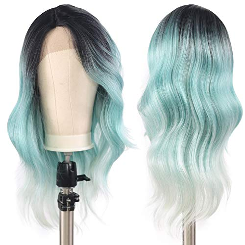 XTRESS Synthetic Lace Front Wigs Ombre Black Green Glueless Turquoise Wig Side Part Long Wavy Wigs 20Inch Mint Green Christmas Wigs For Women Cosplay Costume R3241