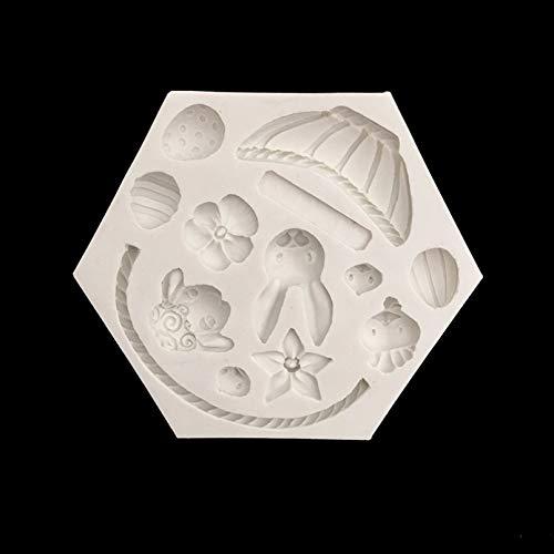 GEYKY minsunbak Molde de lámina de Oveja Conejo Flor decoración de Pastel Molde de Silicona Chocolate Caramelo para Hornear