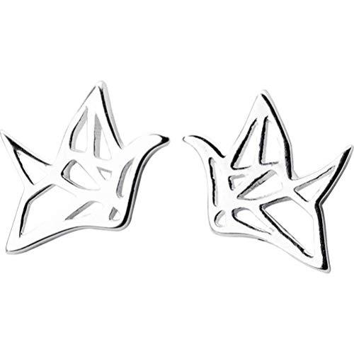 WOZUIMEI Pendientes de Plata S925 Pendientes de Moda para Mujer Pendientes de Pájaro de Origami Joyería de Oreja Joyería Clara Literariaun par, Plata 925